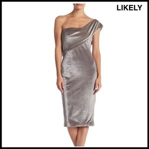 LIKELY ONE SHOULDER MIDI DRESS